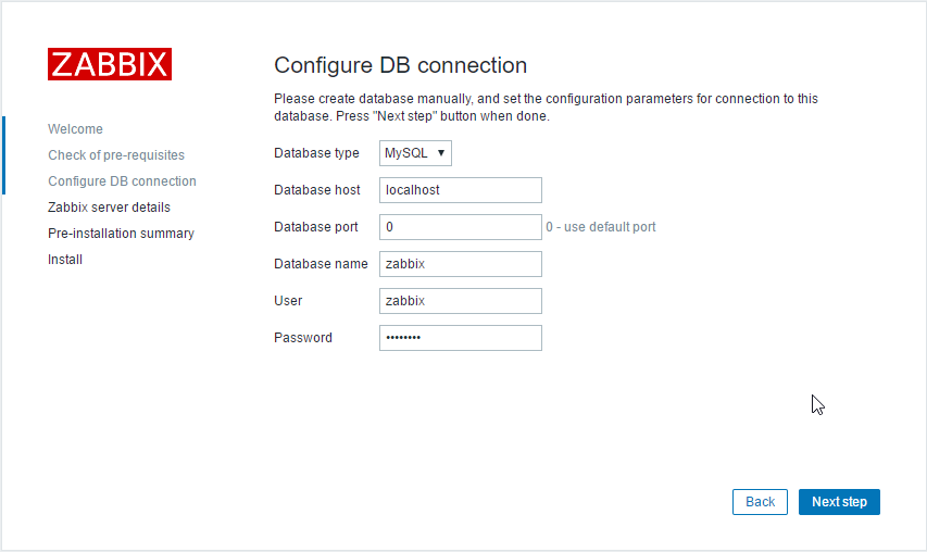 Zabbix DB connection
