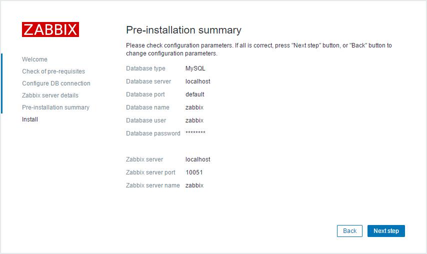 Zabbix pre-install summary